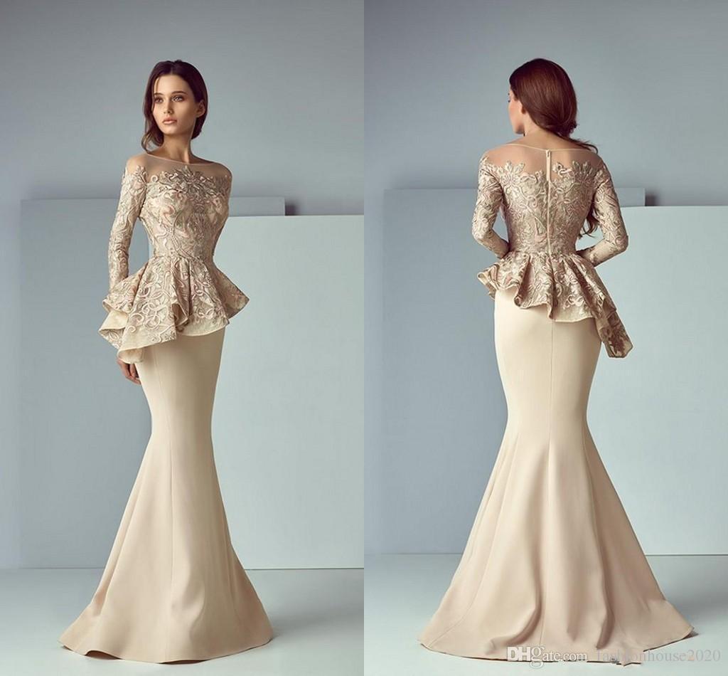 2018 Champagne Mermaid Evening Dresses Sheer Neck Long Sleeve 3D Floral Lace Applique Peplum Ruffles Plus Size Dubai Arabic Party Prom Gowns
