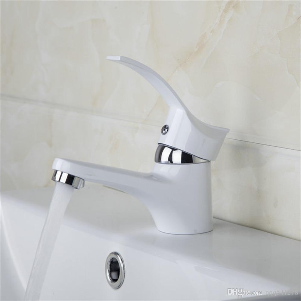 White Painting Bathroom Faucets Mixer Easy Wash for Basin Sink and Kitchen Faucet