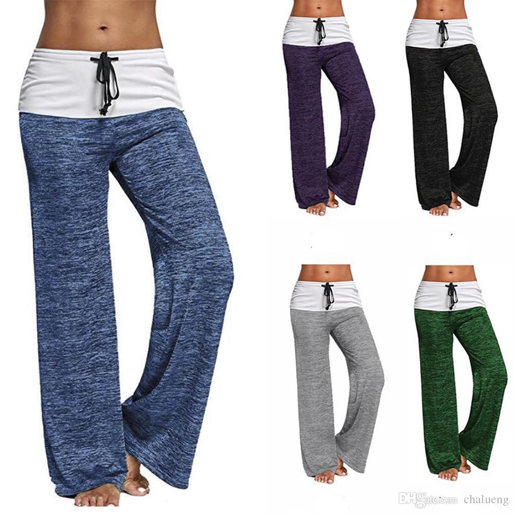 595f284e99efc0 Womens Long Yoga Pants Loose Causal Lounge trousers Bottoms Wide Leg Pants  Gym Leggings Plus Size