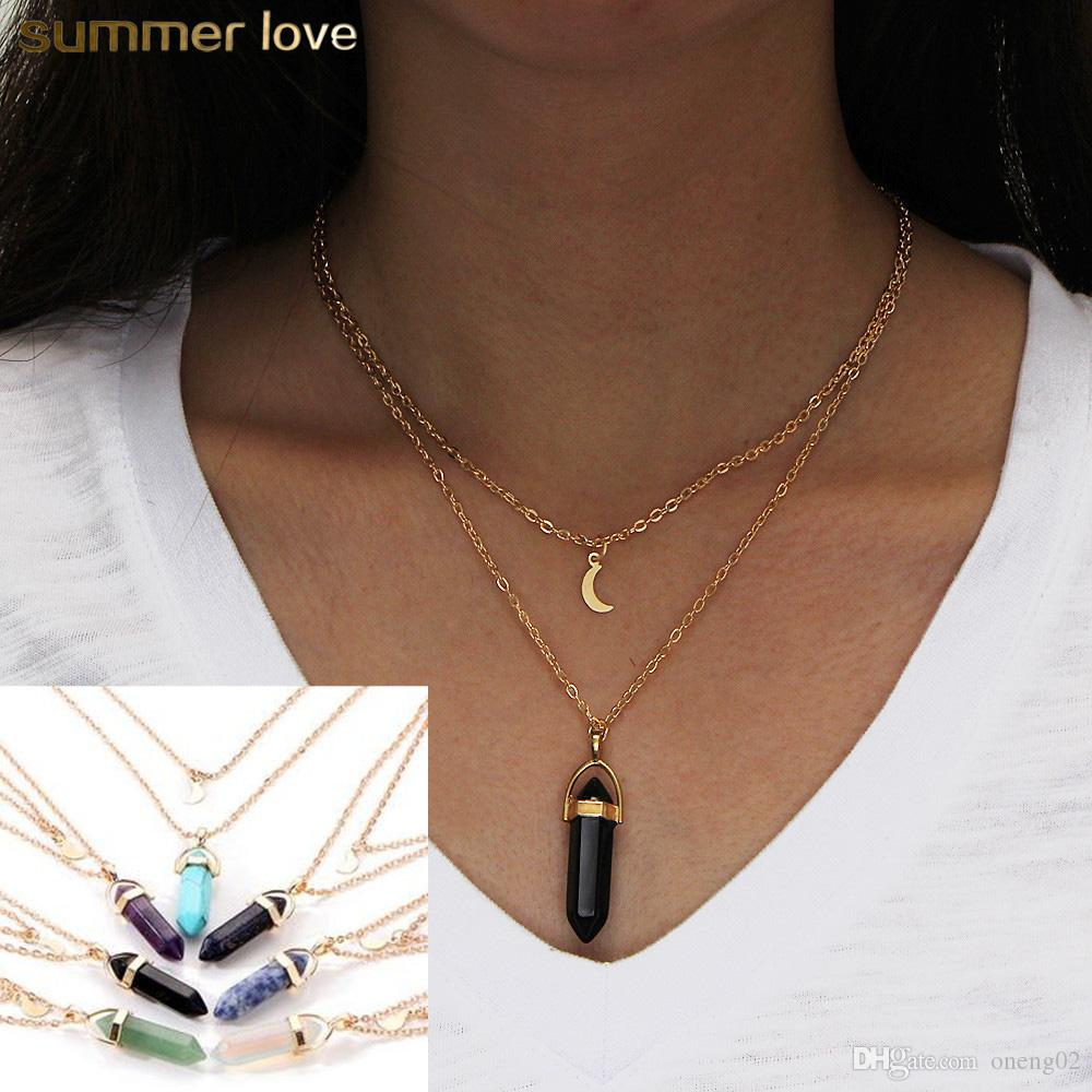 Bullet Shaped Necklaces Best Friends Crystal Opals Natural Stone Bullet Moon Pendant Necklace Double Layer Choker Necklaces For Women Jewelr