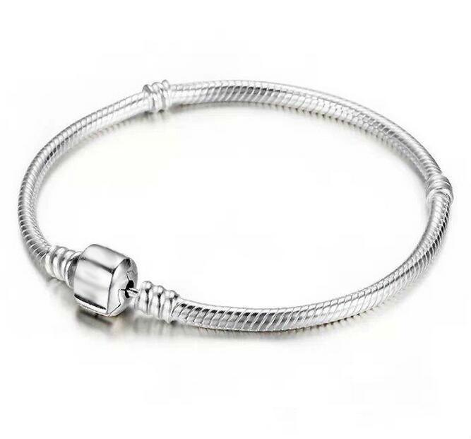 Düşük Fiyat Fabrika Toptan 925 Ayar Gümüş Bilezikler 3mm Yılan Zincir Fit Pandora Charm Boncuk Bileklik Bileklik Takı Hediye Erkekler Kadınlar Için