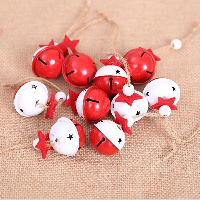 Christmas bells Christmas trees hanging ornaments white red jingle bells party New Year Christmas tree decorations for home