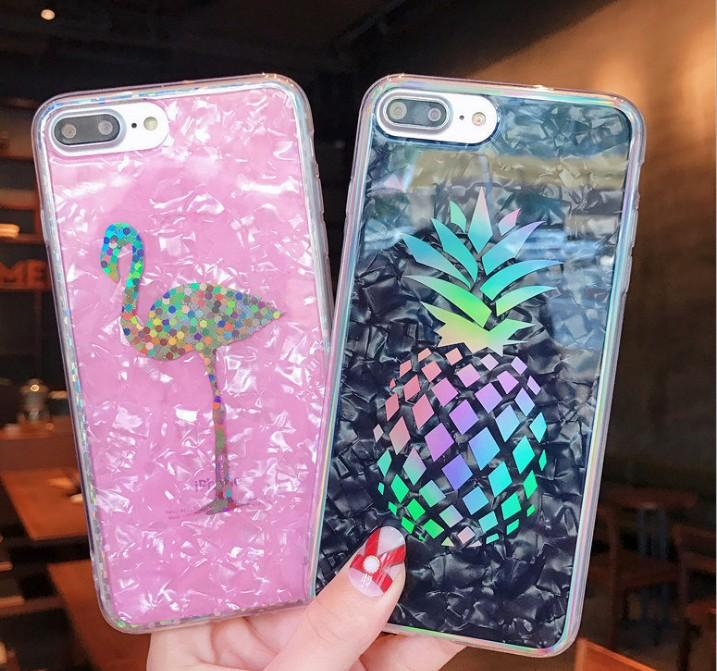 Sparkling Pineapple Cover Hard Plated Marble Casing Laser Flamingo Cactus Chrome Shell Grain Case for iPhone X 6 6S 7 8 Plus