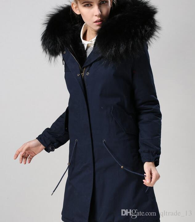 Black guaxinim guarnição da pele Meifeng marca mulheres casacos de neve do inverno preto pele de coelho forrado azul marinho longo parka com ykk zipper