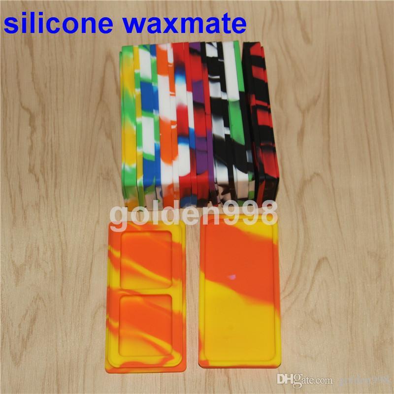 Venta al por mayor 9 colores 3 ml 5 ml 5 ml Antiadherente Tarro de silicona Dab Contenedores de cera para cera Frasco de silicona Concentrado Caja FDA LFGB almohadilla de cera de silicona