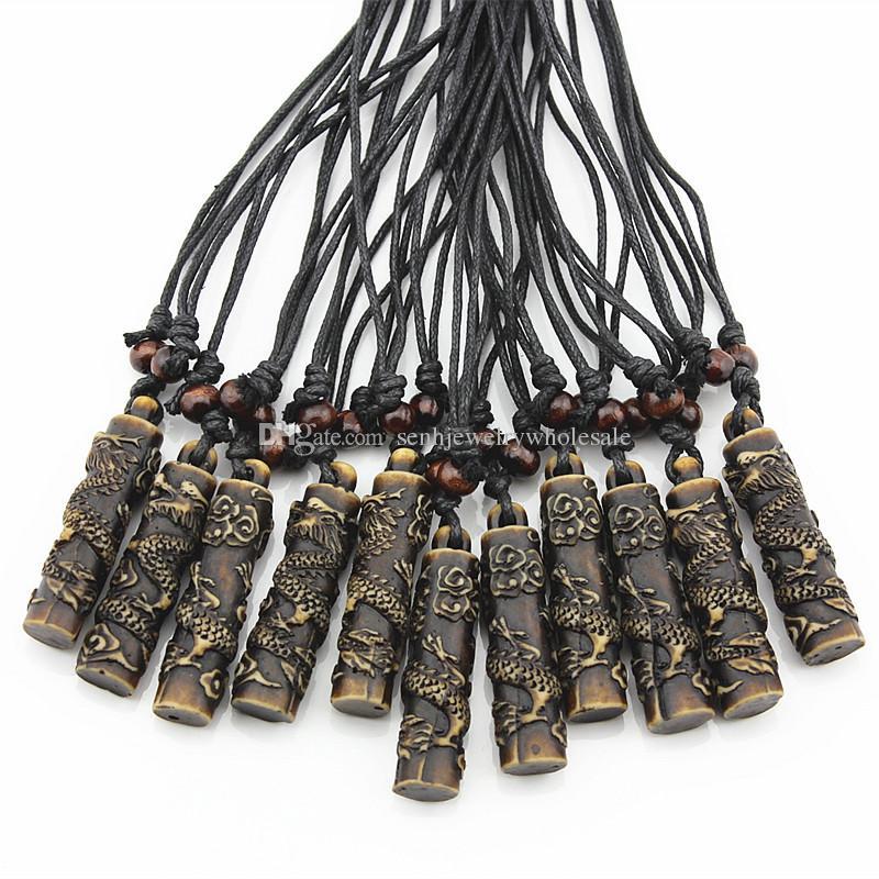 Jewelry Wholesale 12pcs COOL Boy men's Simulation Bone Carving Totem Dragon Pendant Wood Beads Amulet Pendant Necklace Lucky Gift MN112