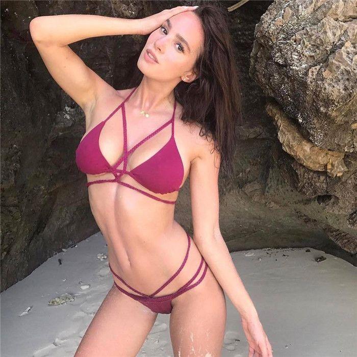 14 Colors Women's Sexy Braid Halter Cutout Brazilian 2PCS Bikini Sets Swimsuit 2018 Beach Party Overalls Factory Wholesale