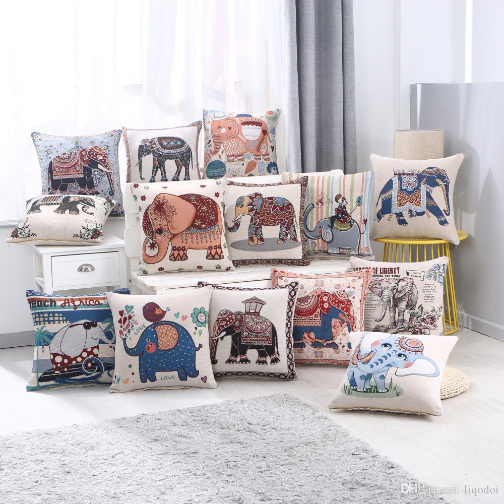 Jacquard Taie D'oreiller De Coton Décorative Vintage Éléphant Canapé Maison De Voiture Decora Brodée Cushioon Housse De Coussin