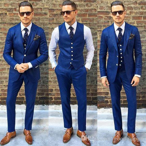 Nuevo diseño con muescas Laper Azul Boda Trajes de hombre Novios Tuxedos Hombres Fiesta Trajes padrinos de boda (chaqueta + pantalón + corbata + chaleco) NO; 171