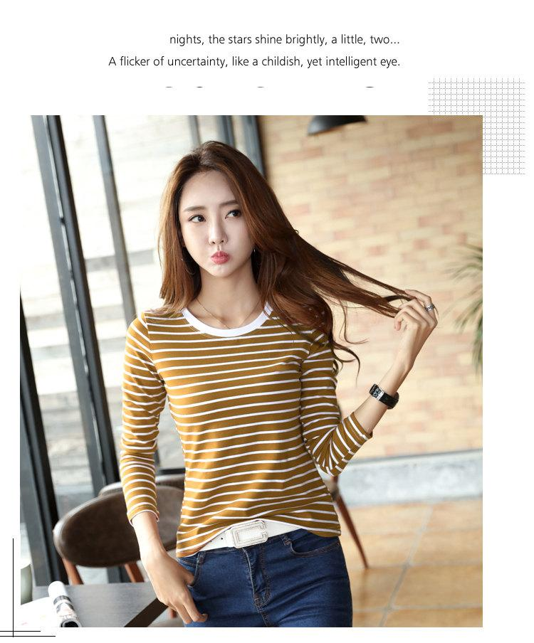 Autumn Winter Striped T-shirt Women Casual Plus Size Tops Tees Femme Long Sleeve Women Cotton Tshirt Camisetas Mujer 2019 (10)