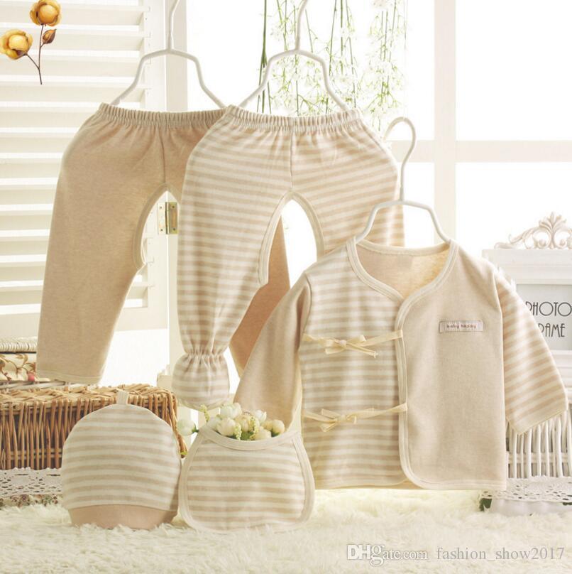 الوليد هدية مربع ملابس الرضع القطن 0-3 أشهر طفل شريط دافئ 5 قطعة / مجموعات لصبي فتاة