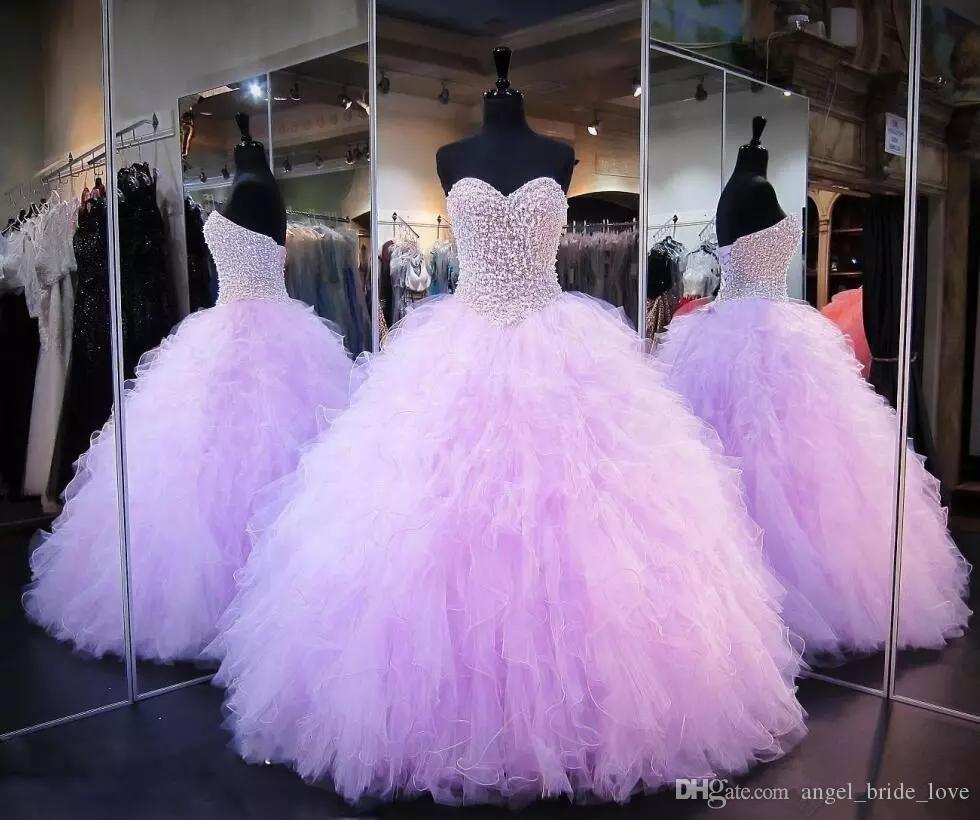 2018 New Lavender Quinceanera Dresses Ball Gown Corset Crystals Pearls Ruffles Tulle Lace Up Back Pageant Gowns For Girls Q43
