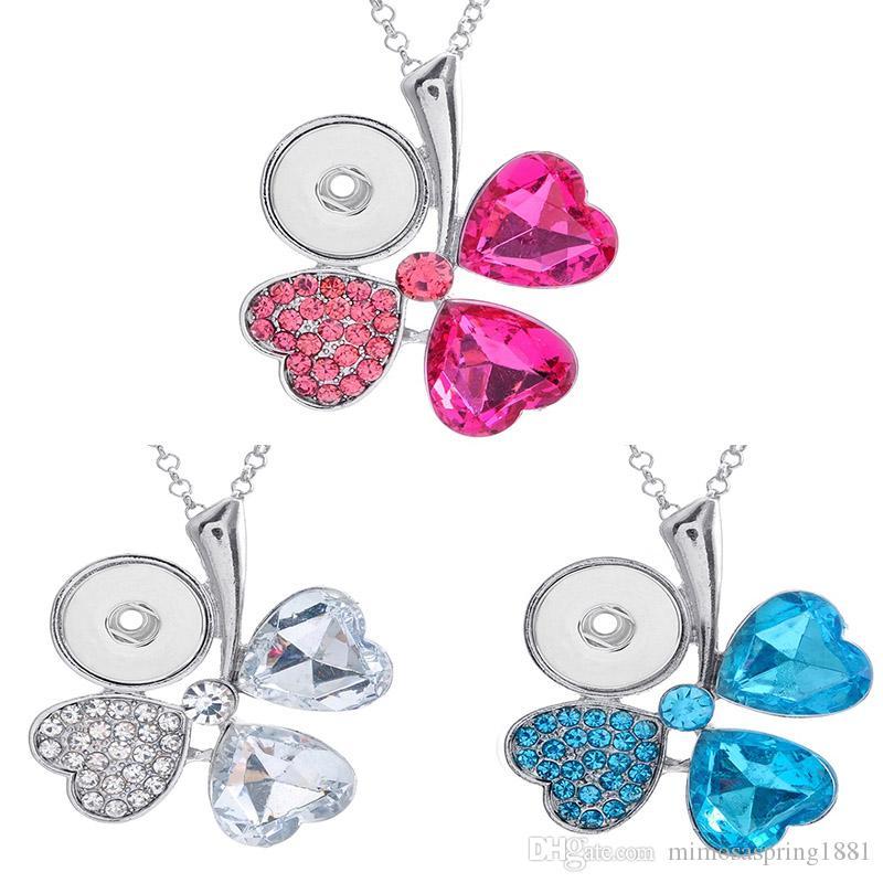 Snap gioielli strass Noosa Four Leaf Clover con bottone a pressione con ciondoli 18mm per le donne migliori regali