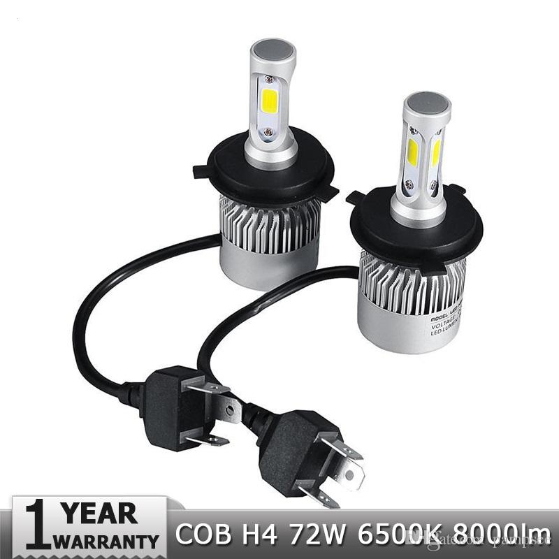 LED Car Headlight H4 Hi-Lo Beam COB Auto Led Headlight Bulb 72W 8000lm 6500K Headlamp for Toyota Honda Nissan BMW Mazda