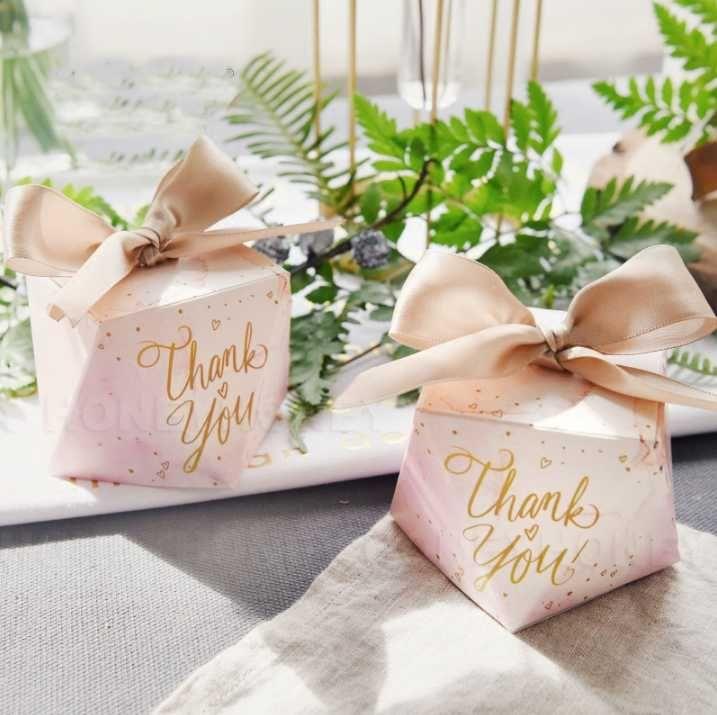 "50Pcs Creative Pink Diamond Wedding Favors Candy Boxes ""Thank you"" Party Gift Box Bomboniera Giveaways Box Return Present"