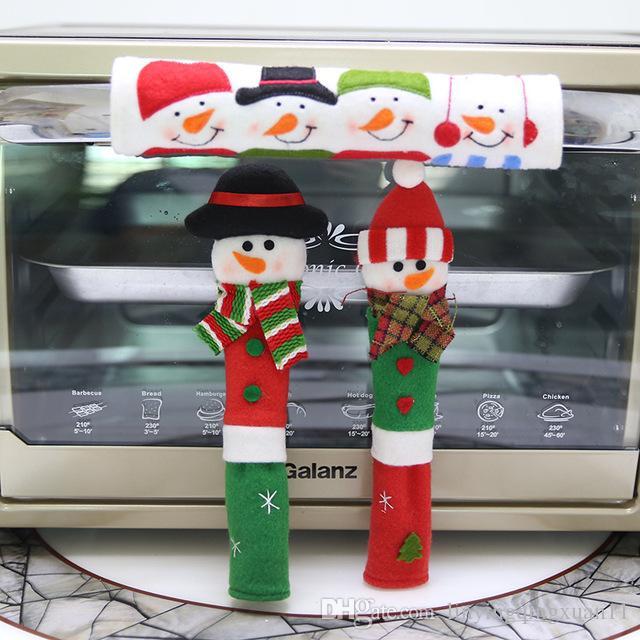 Año Nuevo 3 Unids / set Decoración de Navidad Refrigerador Microondas Horno Puerta Perilla Cubiertas Muñeco de nieve de diseño de diseño Cubiertas de polvo