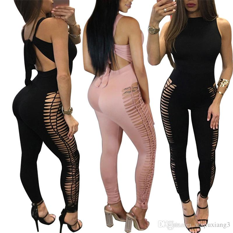 Preself Sexy Hollow Out Bodycon 점프 슈트 여성 패션 꼰 레이스 업 O- 넥 민소매 슬림 니트 Romper