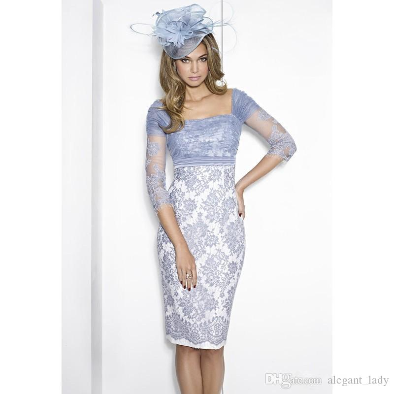 Elegante bainha azul joelho comprimento mãe da noiva vestidos quadrado pescoço meia manga laço vestido de mãe plus tamanho casamento vestido convidado