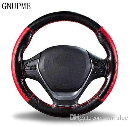 DIY оплетка на рулевом колесе мягкая натуральная кожа рулевое колесо крышка 38см универсальный рулевой крышки с иглой и резьбой