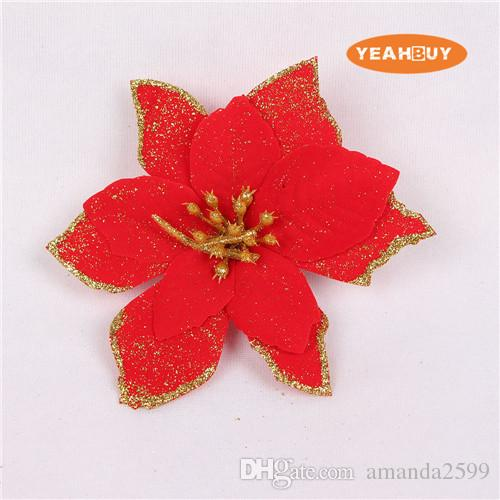 "13CM 5.11"" 6COLOR Artificial flowers silk flowers Christmas poinsettia gold glitter print flower heads home festival decor FCF06"