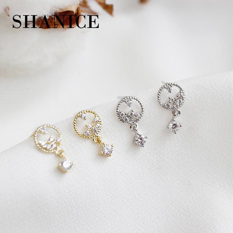 SHANICE 100% reale puro argento sterling 925 gioielli moda femminile Hollow fiore goccia orecchini retrò per le donne regali amante