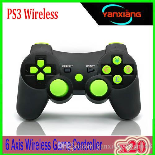 2018 New PS3 controllers Wireless Controller Game Controllers Double Shock for PS3 portable video game palyer Game Console 20PCS YX-PS-WW