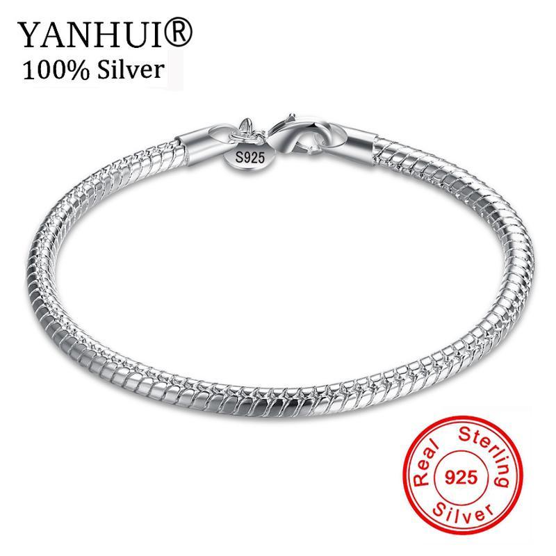 YANHUI Fine Jewelry 100% Original Pure 925 Sterling Silver Charm Bracelets Pour Hommes et Femmes Avec S925 Timbre Cadeau De Mariage HB001