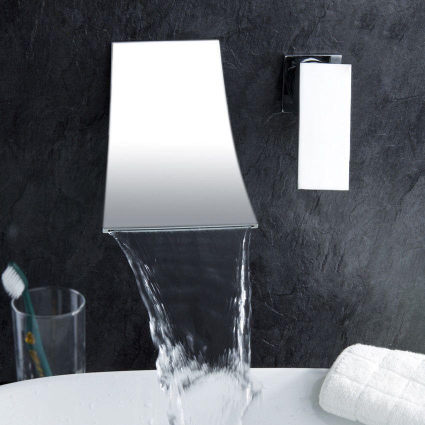 Mezclador de agua caliente / fría con una sola manija Montaje de pared Grifo de lavabo elegante de la cascada