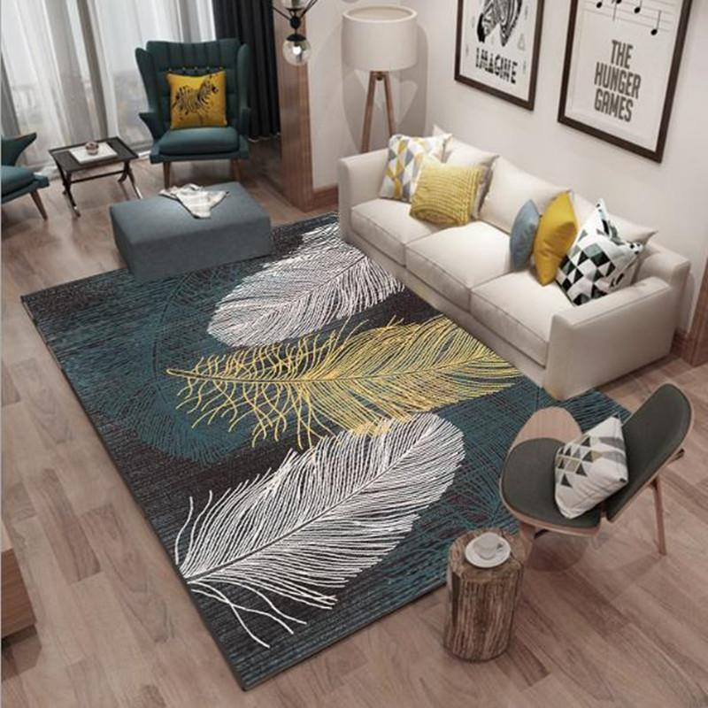 The Nordic Abstract Feather Living Room Carpet Coral Velvet Rug Rectangular  Sofa Coffee Table Geometric Mat Bedroom Tapete Room Beaulieu Carpet Carpet  ...