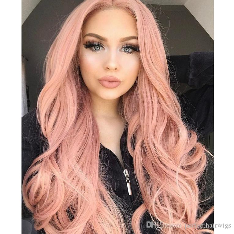 New Cosplay Wig Pink Color Long Wavy Wig Sexy Body Wave Fiber Hair Heat Resistant Gluelese Synthetic Lace Front Wigs for Black Women