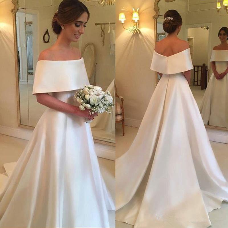 Простой Атлас Линия Свадебные Платья 2018 Бато Шеи Молнии Обратно Короткие Рукава Свадебные Платья Фарфора