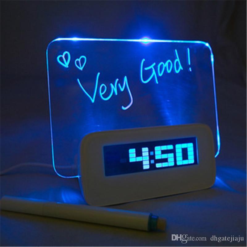 Computer HIGHSTAR Blue LED Luminous Message Board Hot Sale Temperature Calendar Digital Alarm Clock with 4 Port USB Hub