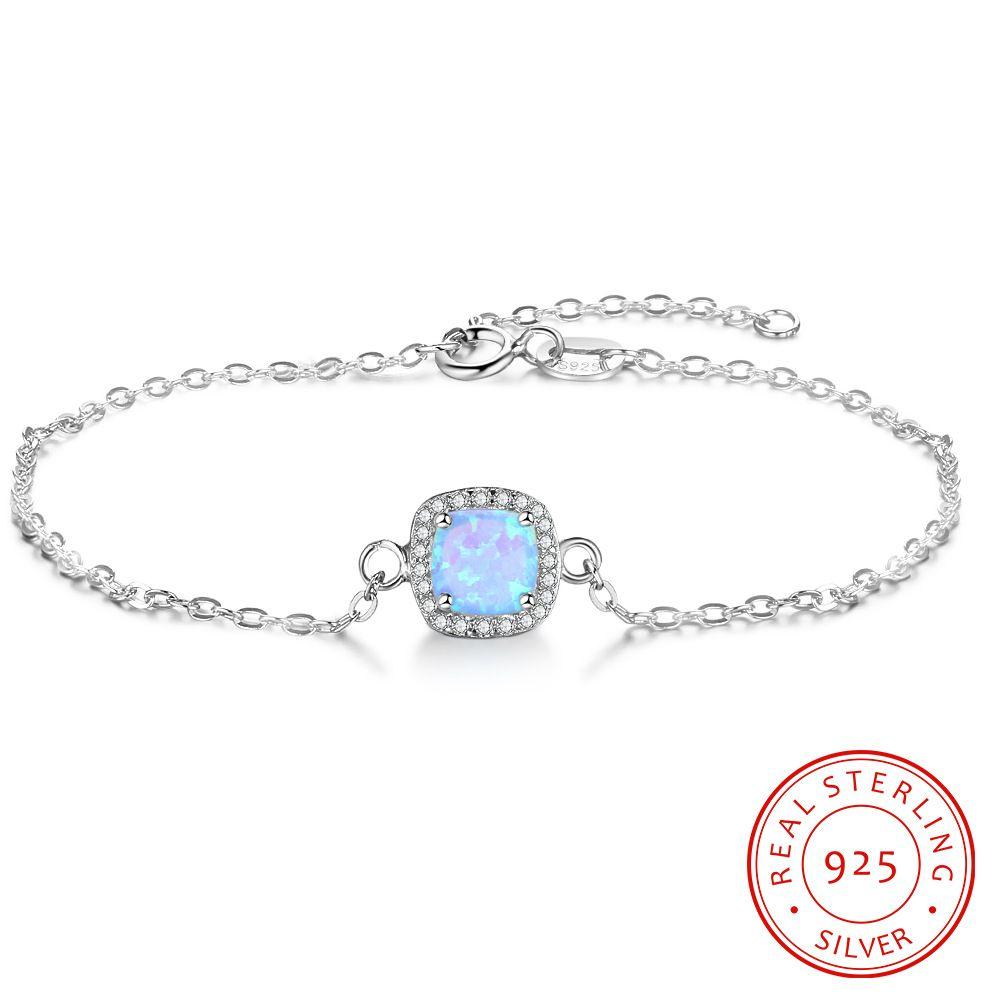 blu opale argento sterling catena di progettazione braccialetto accessori belle gioielli di moda a buon mercato di alta qualità femminile d'avanguardia squisiti