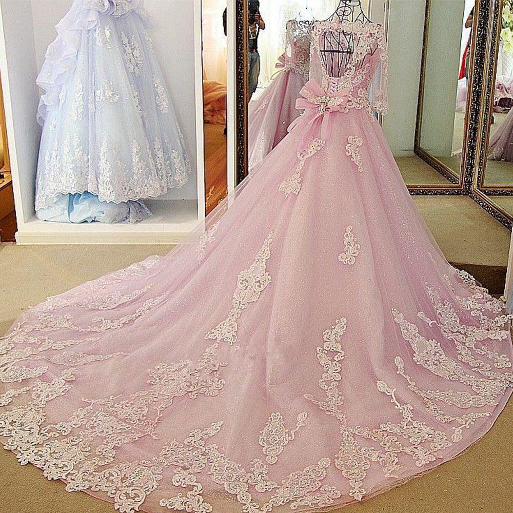 2020 بيع الساخنة الوردي فستان الزفاف Vestidos دي Noiva برنسيسا الخرز نصف كم الكرة ثوب العروس فساتين أثواب الزفاف المستوردة QC1090