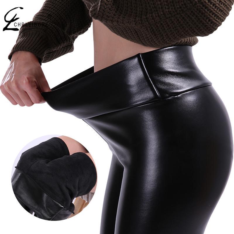 CHRLEISURE S-5XL Donna Plus Size Pantaloni invernali in pelle Warm Veet Pantaloni Vita alta Pantaloni Donna Thick Stretch Pantalon Femme