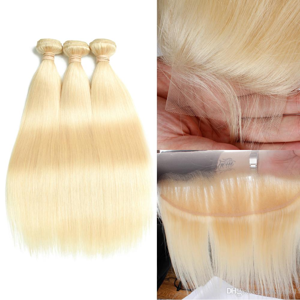 인도 레미 인간의 머리카락 금발 머리카락 3 번들 4 * 4 레이스 폐쇄 13x4 정면 순수한 613 컬러 스트레이트 헤어 웨이프 폐쇄 바디 웨이브