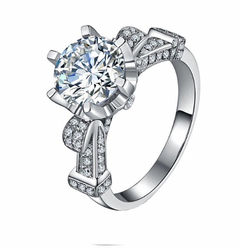 Heißer Verkauf 5CT Verlobungsring Top Qualität Synthetische Diamant Eheringe für Frauen 925 Sterling Silber Schmuck Platin Überzogen