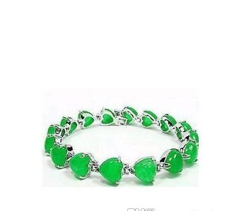 "7.5"" Inch Wonderful natural green jade Alloy Link Bracelet--Wholesale price."
