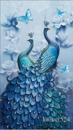 """Rodada completa Broca 5D DIY Pintura Diamante """"Dois pavões"""" handmade 3D Bordado artes Ponto Cruz Mosaico Decoração presente 35x45 cm"""