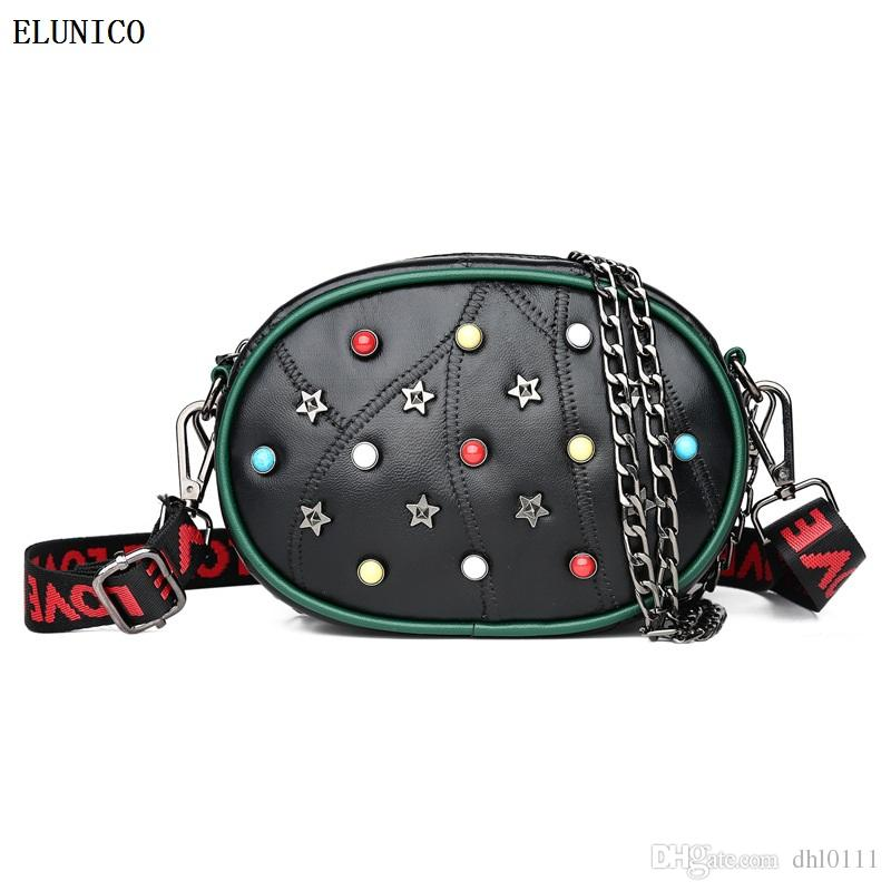 ELUNICO Marque sacs à main de luxe femmes sacs designer rivet crossbody sacs pour les femmes taille sac avec sac en peau de mouton principale femme