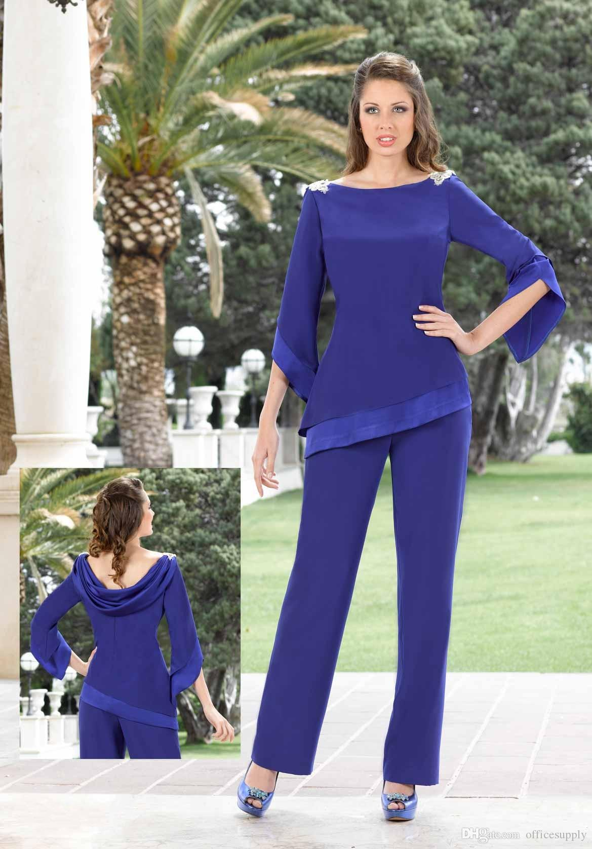Elegant Royal Blue Beaded Mother Of The Bride Pant Suits Long Sleeves Chiffon Boho Mothers Outfit Formal Garment Cheap Wedding Guest Dress