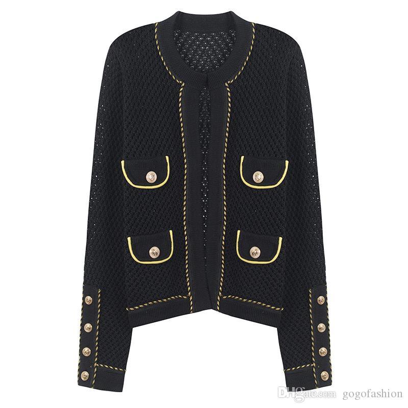 719 2018 Brand Same Style Maglioni Pullover Regolari Crew a maniche lunghe Collo Lungo Cardigan Black Donne vestiti YL