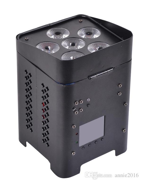 Venta caliente 6 * 12 w rgbwa + uv 6in1 llevó la luz de la batería par con control inalámbrico dmx512 para dj show de eventos