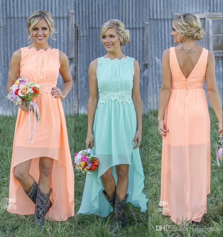 2019 New Country Hi-Lo Bridesmaid Dresses Scoop Backless High Low Pleats Chiffon Beach Maid Of Honor Dress Wedding Guest Party Gowns Cheap