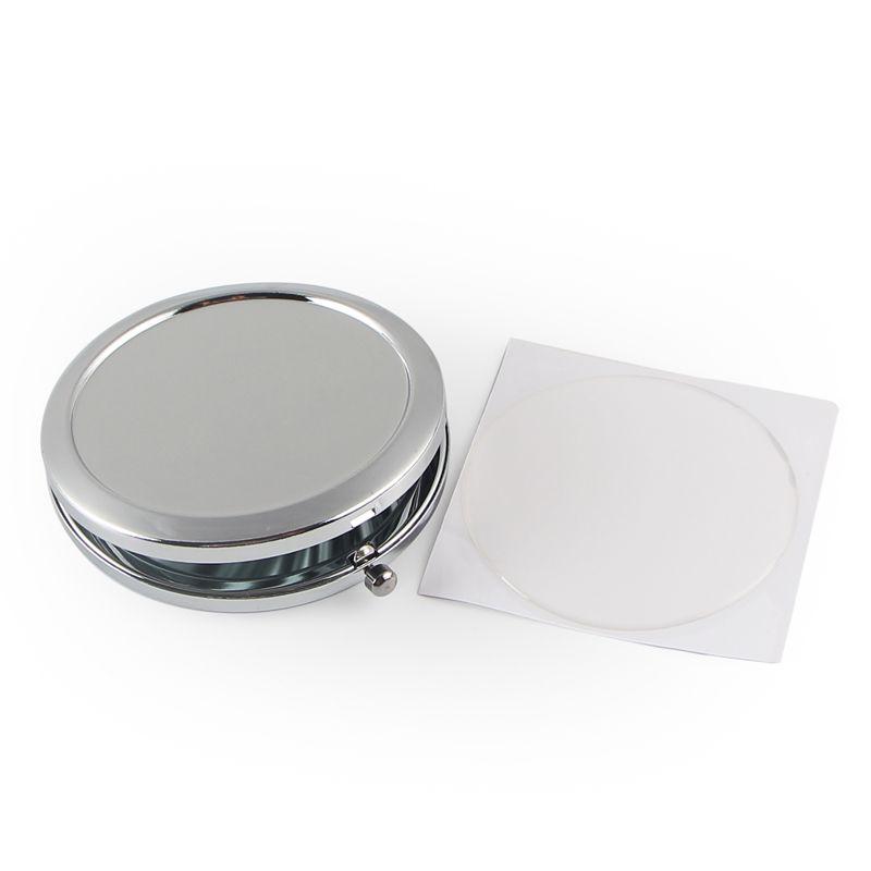 Espejo compacto en blanco con pegatina epoxi NUEVO maquillaje de espejo de bolsillo cosmético El color de plata de los compactos baratos para DIY Decoden # M070s