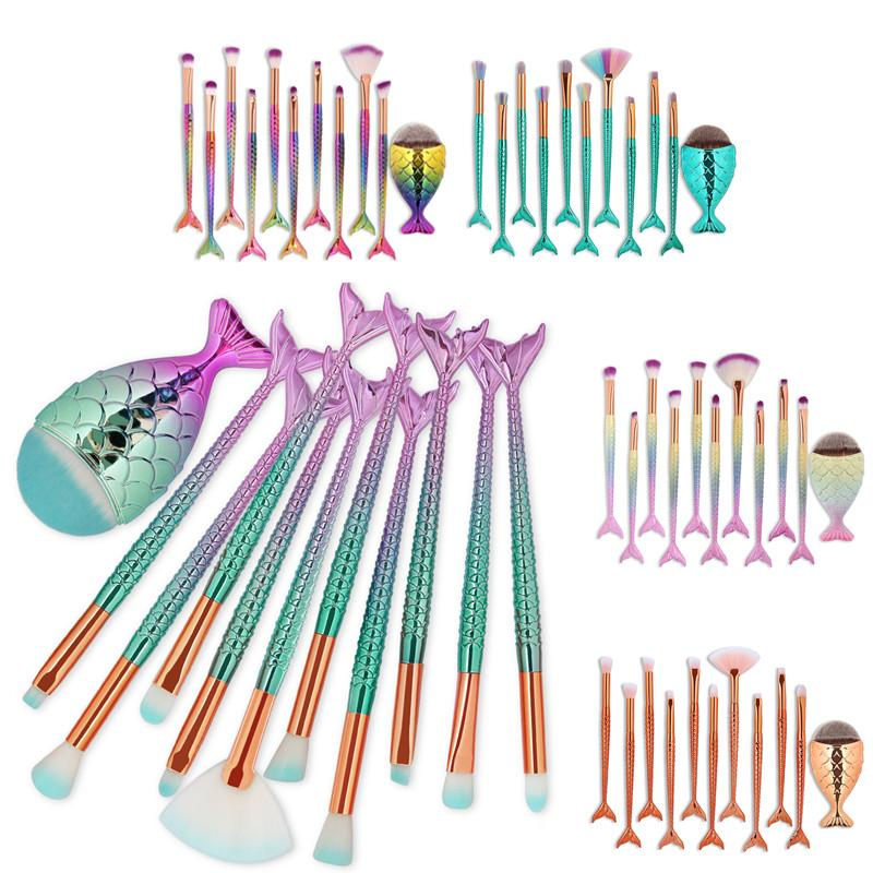 11PCS Pro Mermaid Makeup Brushes Foundation Eyebrow Eyeliner Blush Powder Cosmetic Concealer Fish Tail Professional Makeup Brushes Set Kit