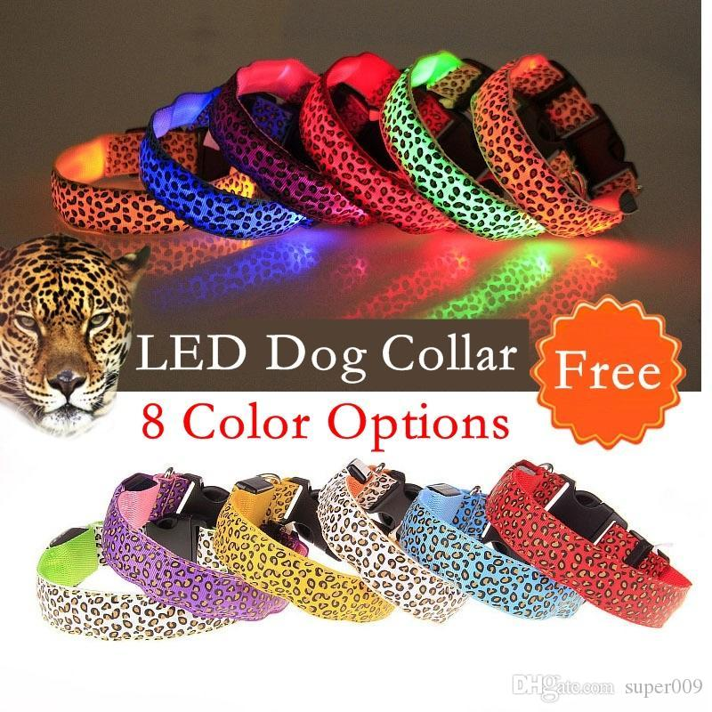 Leopard spots Pet Dog Collar Leopard Nylon Safety LED Collar Flash Light Necklace For dog Free Shipping