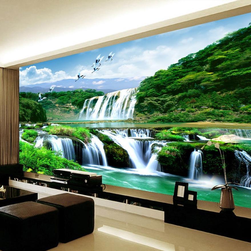 Custom 3D Photo Poster Wallpaper no tejido HD Falls Paisaje Natural Mural Wallpaper Fondo de pantalla de la pared que cubre la sala de estar Dormitorio