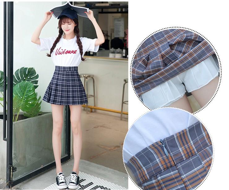 Fashion Summer Skirt Women 2018 Ete Skirts Casaul Pleated Ladies Skirts High Waist Mini Skirt Female Skirt Plaid Saia Jupe Femme (2)