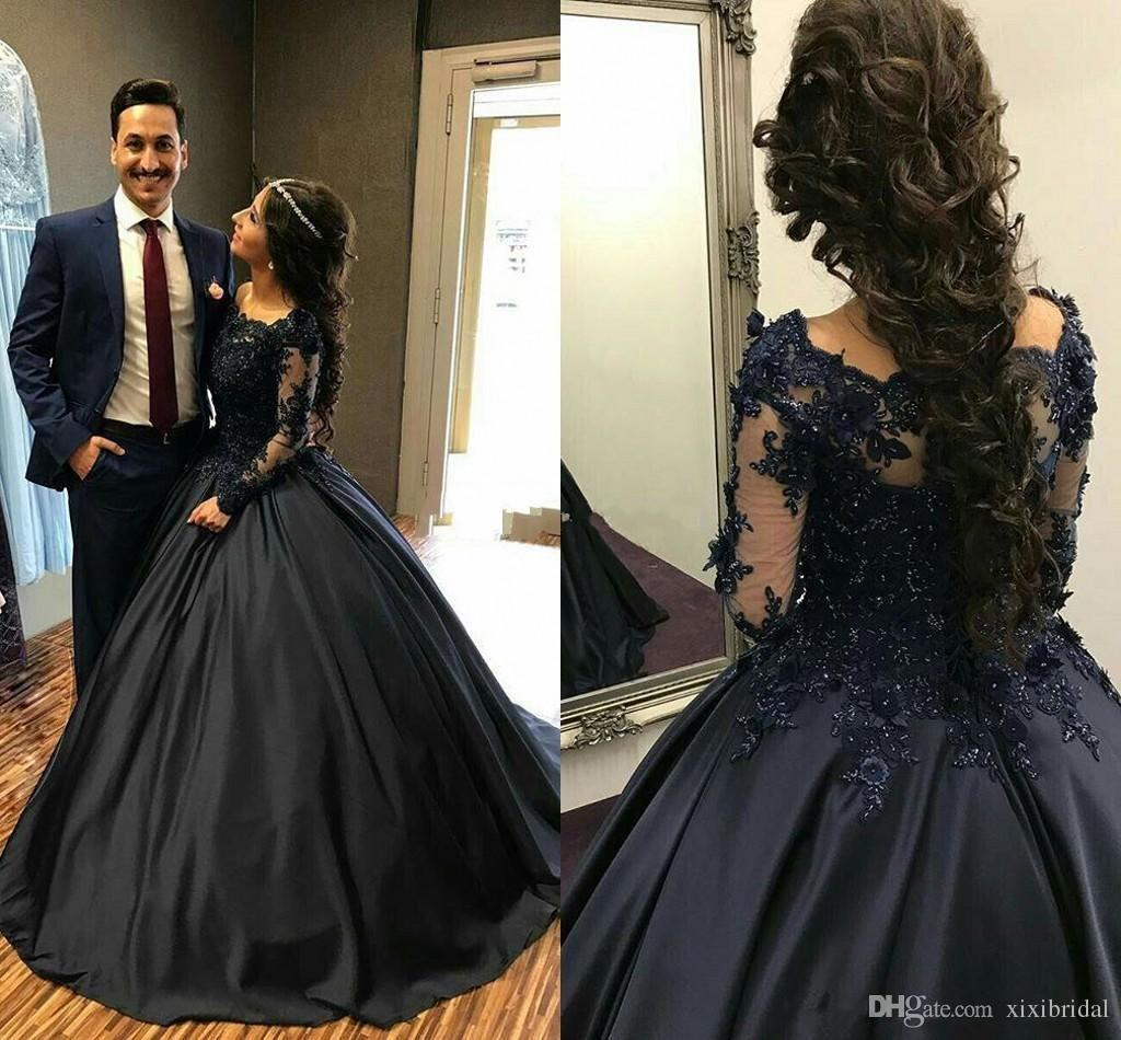 24e2159263d4 Dark Navy Ball Gown Prom Dresses 2018 Lace Appliques Long Sleeves Beading  Stain Elegant Formal Evening Gowns Pageant Party Dress